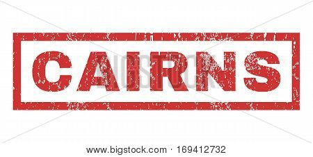 Cairns text rubber seal stamp watermark. Tag inside rectangular shape with grunge design and dirty texture. Horizontal vector red ink sign on a white background.