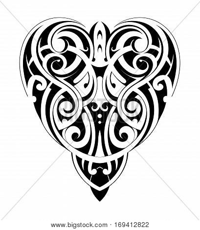 Tribal tattoo heart shape in Maori style