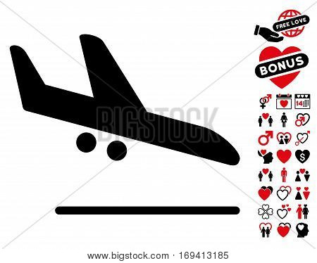 Aiplane Landing pictograph with bonus valentine pictograph collection. Vector illustration style is flat iconic intensive red and black symbols on white background.