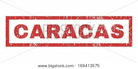 Caracas text rubber seal stamp watermark. Tag inside rectangular banner with grunge design and dirty texture. Horizontal vector red ink emblem on a white background.