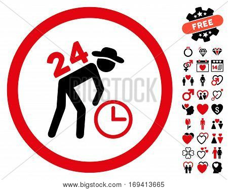 Around The Clock Work pictograph with bonus decoration pictograms. Vector illustration style is flat rounded iconic intensive red and black symbols on white background.