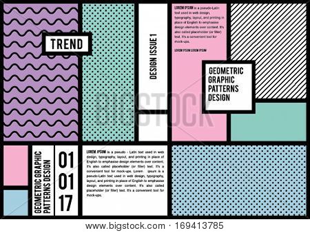 DESIGN TEMPLATE, GEOMETRIC PATTERNS. Can use as cover, brochure,  print projects etc. Editable vector illustrator file.