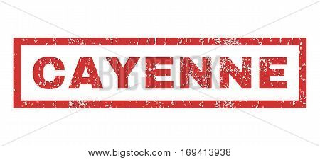 Cayenne text rubber seal stamp watermark. Tag inside rectangular shape with grunge design and dirty texture. Horizontal vector red ink sign on a white background.
