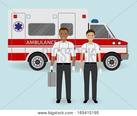 Hospital staff concept. Paramedics ambulance team on ambulance car background. Male and female emergency medical serviice employee. Flat style vector illustration.