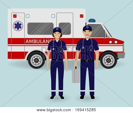 Hospital staff concept. Paramedics ambulance team with ambulance car. Male and female emergency medical serviice employee in uniform. Flat style vector illustration.