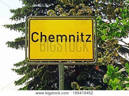 City sign of Chemnitz (State of Saxony, Germany)