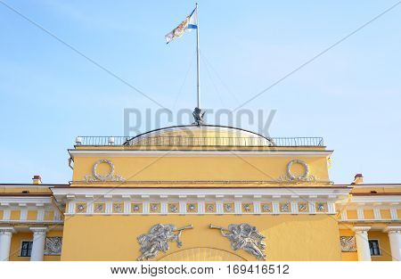 Building of the main Admiralty at cloudy day in St.Petersburg Russia.