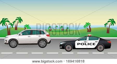 Police pursuit on a road. Police job concept. Police car with flashing lights pursues the offender. Flat style vector illustration.
