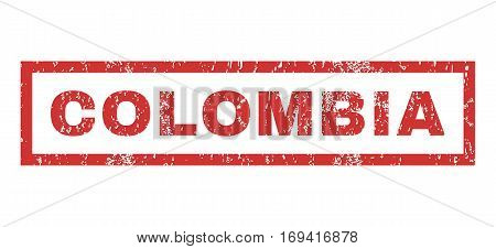 Colombia text rubber seal stamp watermark. Caption inside rectangular shape with grunge design and unclean texture. Horizontal vector red ink sticker on a white background.