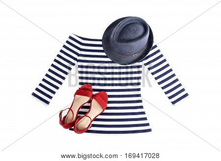Woman's Nautical Striped Top with Blue Straw Hat and Red Suede Sandals Isolated on White