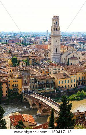 Beautiful view of Verona old town from castle San Pietro Veneto region Italy