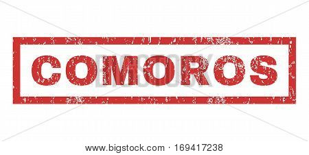 Comoros text rubber seal stamp watermark. Caption inside rectangular banner with grunge design and unclean texture. Horizontal vector red ink emblem on a white background.