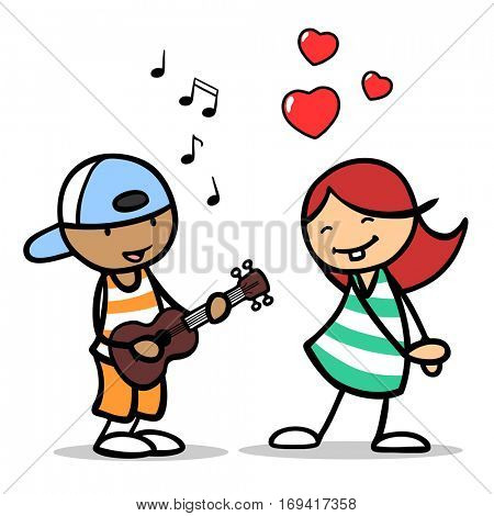 Cartoon boy singing romantic song to a girl in love