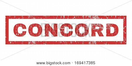 Concord text rubber seal stamp watermark. Caption inside rectangular banner with grunge design and scratched texture. Horizontal vector red ink sign on a white background.