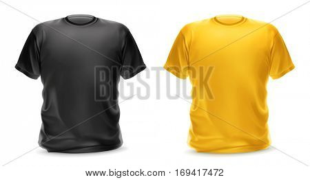 Black and yellow t-shirt, isolated object. Raster copy