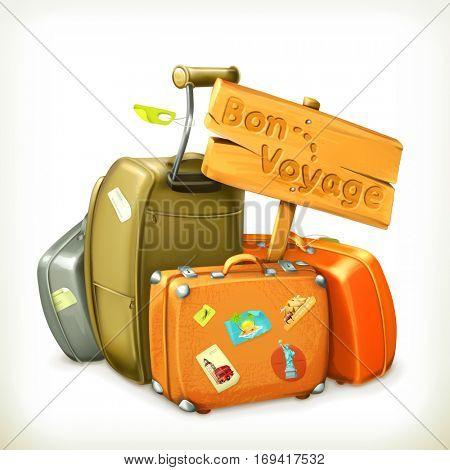 Bon voyage, travel icon. Raster copy