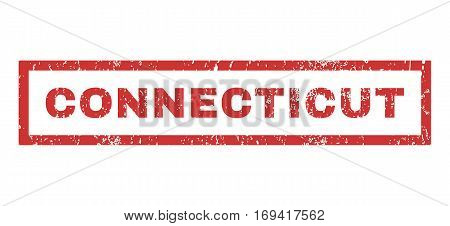 Connecticut text rubber seal stamp watermark. Tag inside rectangular banner with grunge design and unclean texture. Horizontal vector red ink sign on a white background.