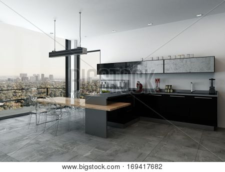 Stylish modern kitchenette in a open plan living room interior with black lacquered cabinets and bar counter overlooking an outdoor patio and cityscape through floor to ceiling windows, 3d rendering