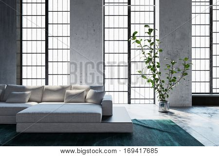 Bright sunny living room interior with tall feature windows and a modern modular settee with comfortable cushions, 3d rendering