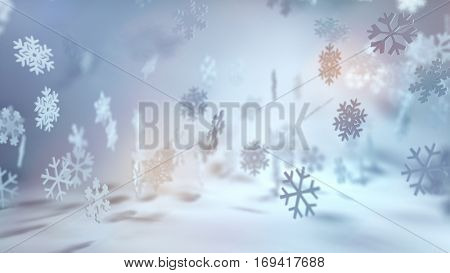 Festive cool toned Christmas snowflake background with falling snow in a wintry landscape and colorful sun flare i a wide angle banner format. 3d Rendering