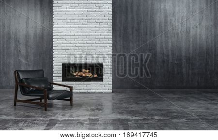Minimalist monochrome living room interior with grey decor and a low slung leather recliner chair in front of an unlit fire in an inset in a textured brick feature wall, 3d rendering