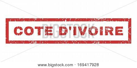 Cote D'Ivoire text rubber seal stamp watermark. Tag inside rectangular shape with grunge design and dirty texture. Horizontal vector red ink emblem on a white background.