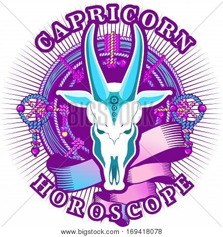 Vector illustration of magic horoscope sign Capricorn style of the 60s bright hippie art isolated on white background