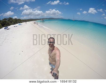 Man taking a selfie in Whitsunday, Australia