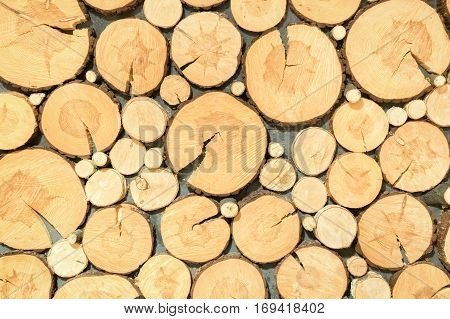 The Background Of Sawn Logs. Wall Decoration.