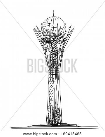 January 04, 2017: Bayterek Tower in Astana isolated. Symbol of Kazakhstan, Hand drawn vector illustration.