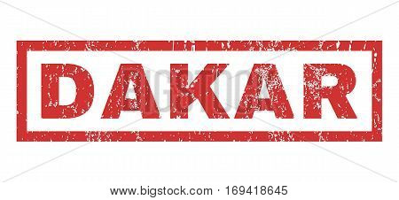 Dakar text rubber seal stamp watermark. Tag inside rectangular shape with grunge design and scratched texture. Horizontal vector red ink sticker on a white background.