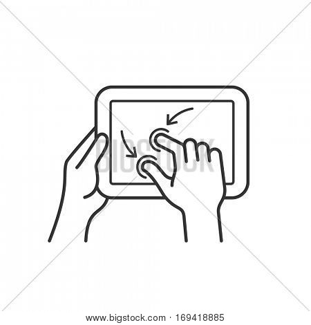 Tablet pc gesture vector icon. Linear style