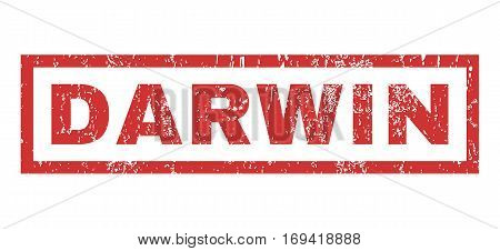 Darwin text rubber seal stamp watermark. Tag inside rectangular banner with grunge design and unclean texture. Horizontal vector red ink emblem on a white background.