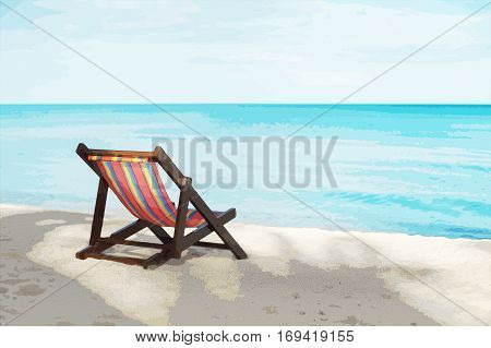 portrait of a beach chair on a white sand beach with bluesky and blue sea in background filtered image to comic halftone