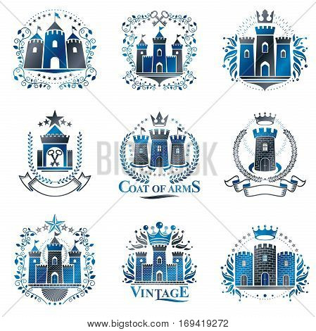 Ancient Citadels emblems set. Heraldic vector design elements collection. Retro style label heraldry logo.