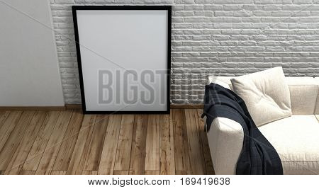 Large blank picture frame standing on a wooden floor leaning on a textured rough white wall alongside a cream colored couch with a black throw rug, high angle partial view 3d rendering