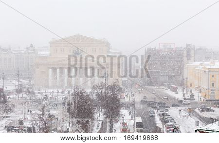 Bolshoi Theatre panoramic high angle view at strong snowstorm. Moscow Russia.