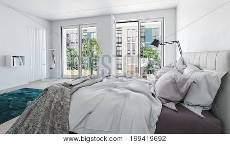 Bright airy modern luxury monochrome grey and white bedroom interior with messy bed in the foreground and large glass windows and door opening onto a garden, 3d rendering