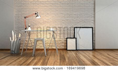 Modern minimalist studio or workstation with an anglepoise lamp illuminating a textured brick wall over a drafting or writing table with rolls of plans alongside and blank picture frames, 3d rendering poster