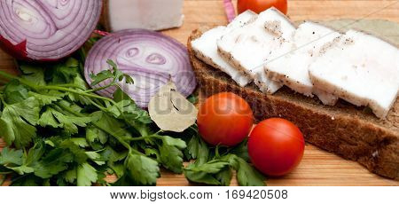 Lard on bread tomatoes onions and fresh herbs on the table