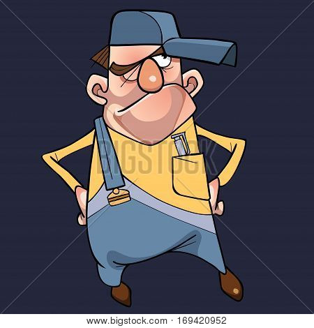 cartoon puzzled man in cap and overalls