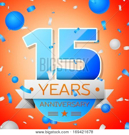 Fifteen years anniversary celebration on orange background. Anniversary ribbon