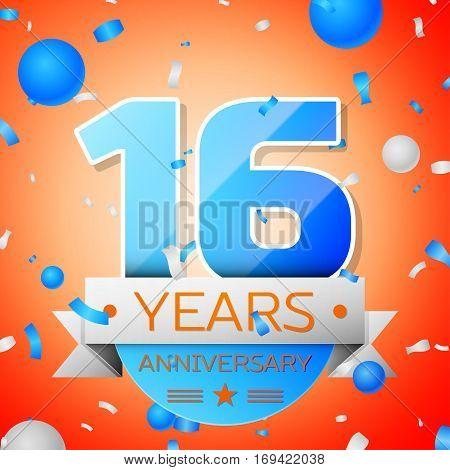 Sixteen years anniversary celebration on orange background. Anniversary ribbon