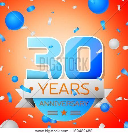 Thirty years anniversary celebration on orange background. Anniversary ribbon