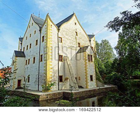 Moated Castle Wasserschloss Klaffenbach in Chemnitz, Germany