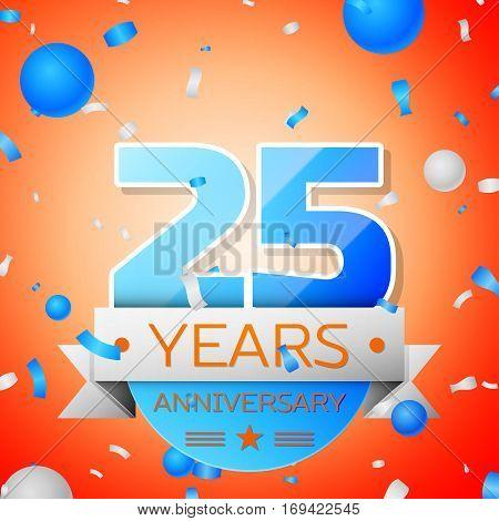 Twenty five years anniversary celebration on orange background. Anniversary ribbon