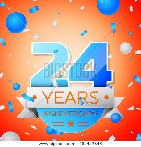 Twenty four years anniversary celebration on orange background. Anniversary ribbon