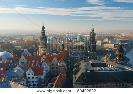 Old Town and of Katholische HofkircheOpera Semperoper Dresden Germany. Fly view.