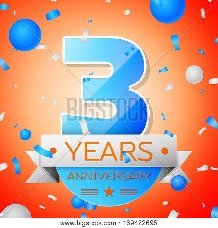 Three years anniversary celebration on orange background. Anniversary ribbon