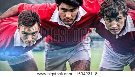 Rugby fans in arena against rugby players ready to play 3d